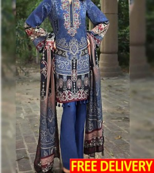 Luxury Embroidered Lawn 3PC AH-792A - Printed Chiffon Dupatta. Neck Embroidered (Unstitched)