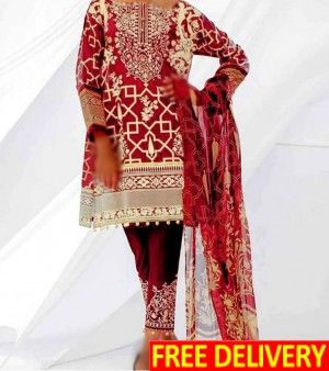 3PC Embroidered Lawn Dress AL2201 - Chiffon Dupatta. Embroidery Trouser, Neck Embroidered (Unstitched)