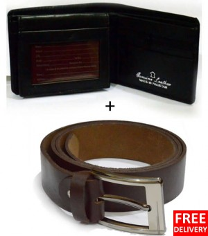 Leather Wallet With Leather Belt