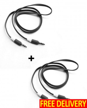 Pack of 2 Audio AUX Cables - Black (About 1 Meter)