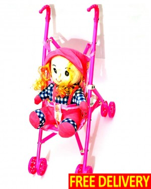 Pink Doll With Moving Pram