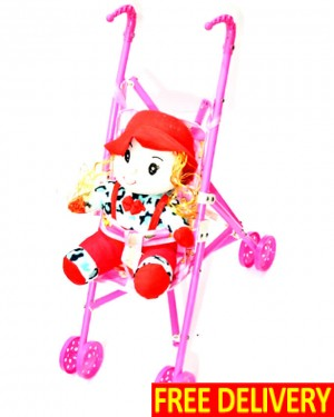 Red Doll With Moving Pram