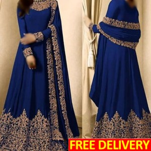 Chiffon Embroidered Maxi in Blue (Un-Stitched) - PW279